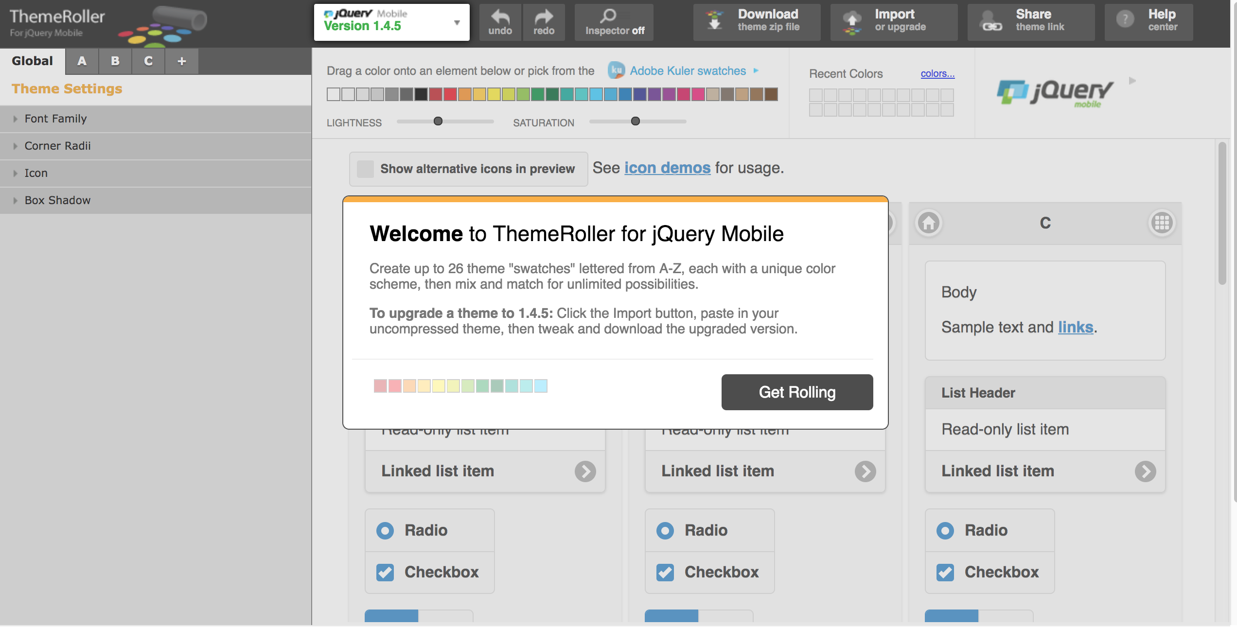 theme jquery mobile